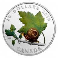 Venetian Glass Snail 1oz Proof Silver Coin 20$ Canada 2016