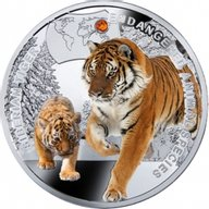 Niue 2014 1$ Siberian Tiger - Endangered Animal Species Proof Silver Coin