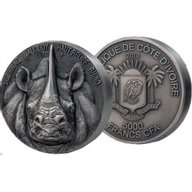 Mauquoy Haut Relief Rhino Big five 5 oz Antique finish Silver Coin 5000 francs Ivory Coast 2019