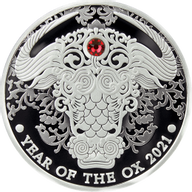 Year of the Ox Lunar Year 1/2 oz Proof Silver Coin 2 Cedis Republic of Ghana 2021