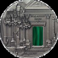 Malachite Room Masterpieces in Stone 3 oz Antique finish Silver Coin 10$ Fiji 2013
