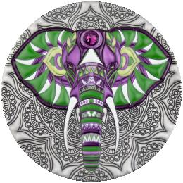 Elephant Mandala Collection 2 oz Antique finish Silver Coin 5$ Niue 2019