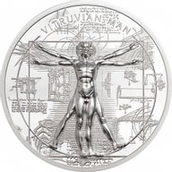 Vitruvian Man X-Ray 1 oz Proof Silver Coin 5$ Cook Islands 2021