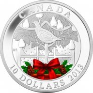 Canada 2013 10$  Holiday coin  A Partridge in a pear tree Silver Proof Coin