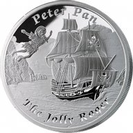 Tuvalu 2014 1$ The Jolly Roger - Peter Pan Famous Ships That Never Sailed Proof Silver Coin