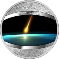 Muonionalusta Meteorite 1 oz Proof Pure Meteorite Coin 1$ Niue 2016