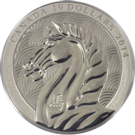 Canada 2014 10$ Year of the Horse  B.U. Silver Coin