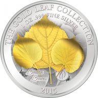 Samoa 2015 10$ Linden Leaf 3D Gold Leaves 1oz Proof Silver Coin
