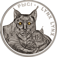 Belarus 2008 20 rubles Lynxes Proof Silver Coin