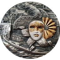 Venetian Mask 2 oz Antique finish Silver Coin 5$ Niue 2019