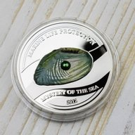 Mystery of the Sea - Green Freshwater Pearl. Marine Life Protection Proof Silver Coin 5$ Palau 2012
