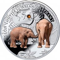 Endangered Animal Species Asian Elephant 1/2oz Proof Silver Coin 1$ Niue 2014