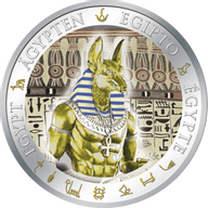 Fiji 2012 1$ Anubis Golden and Colorful EgyptProof Silver Coin