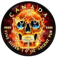 Burning Skull Skull Maple Leaf 1oz Black Ruthenium BU Silver Coin 5$ Canada 2018