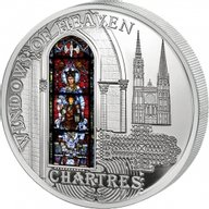 Cook Islands 2013 10$ Cathedral of Our Lady of Chartres Windows Of Heaven Proof Silver Coin
