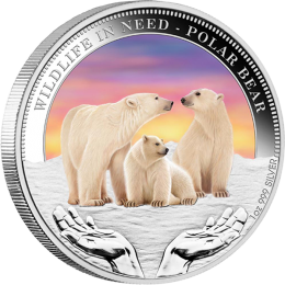 Polar Bear Wildlife in Need Proof Silver Coin 1$ Tuvalu 2012